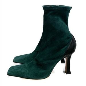 Celine Madame Green Suede Booties Ankle Boots